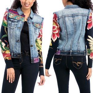 Desigual Patchwork Denim Jean Vest Art To Wear XS